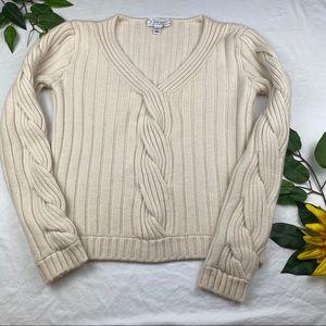 ST. JOHN Ivory Cashmere Cable Knit V-Neck Sweater